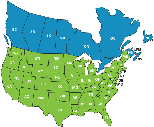 North america map with states